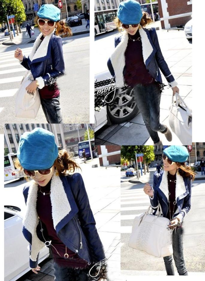 Amazing Japanese Street Style & Online Stores - girl wearing blue faux leather jacket with sheep fur lining
