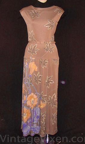 Vintage Belted Floral Maxi Dress