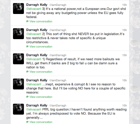Darragh Kelly, comments on the fiscal /stability treaty